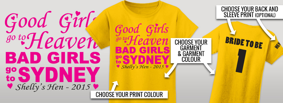 Fully personalised hens party tshirts