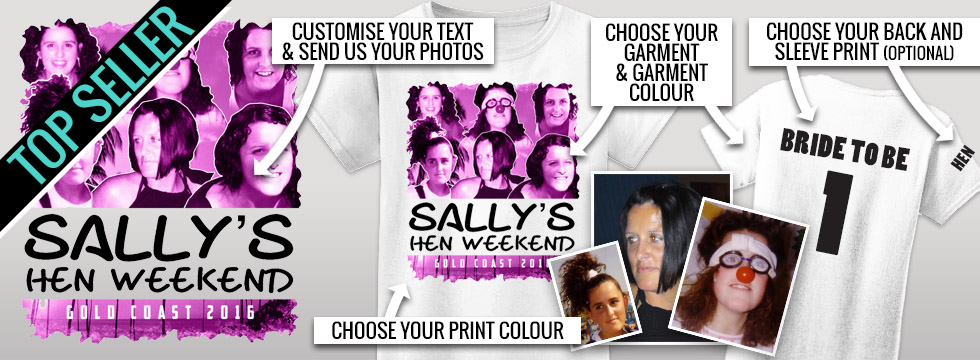 Personalised hens night t shirt photo design